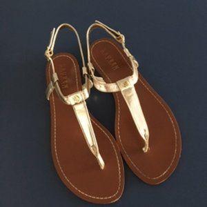 Ralph Lauren Gold tone leather Thong Sandals